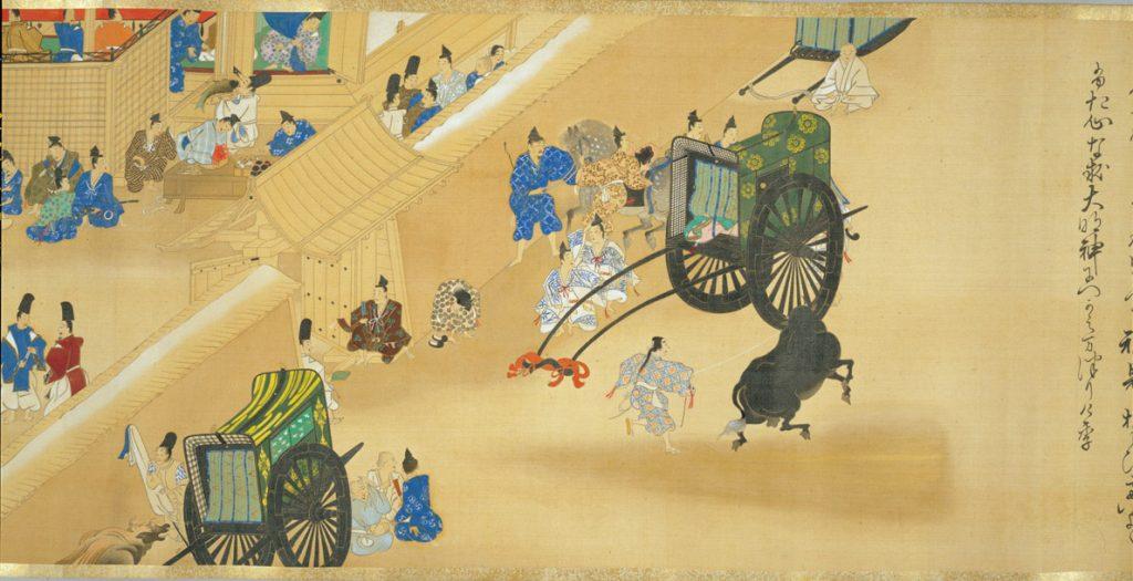 『春日権現験記絵』(模本)_巻5(東京国立博物館)より、築地(塀)と牛車